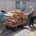 [穴窯体験 窯焚き 6日目]参加者の方々と割木運び